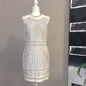 Bebe Ivory Beaded + Sequin Cocktail Dress Size 8